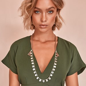 Buttons Leather Back Long Necklace