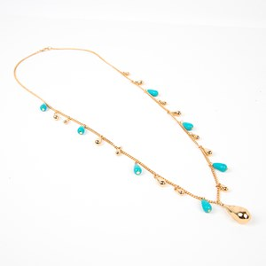 Stone & Metal Teardrops Single Layer Necklace