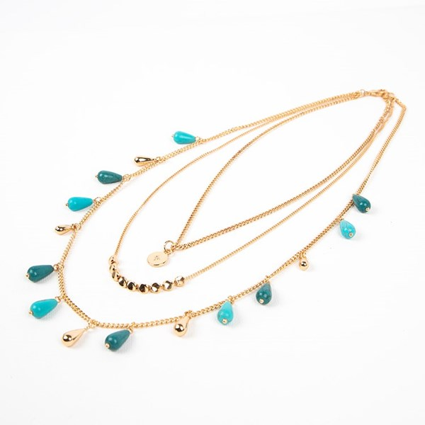 Multi Layer Stone & Metal Teardrops Short Necklace