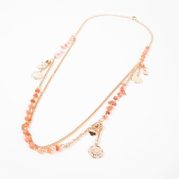 Coral Mix Clover Charms Long Layer Necklace