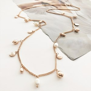 Fresh Water Pearl & Metal Disc Charms Long Necklace