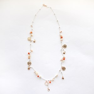 Stone & Clover Charms Long Layer Necklace