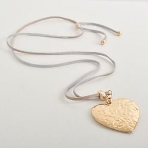 Beaten Heart Pendant Leather Necklace