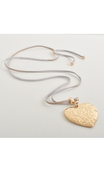 Beaten Heart Pendant Leather Necklace