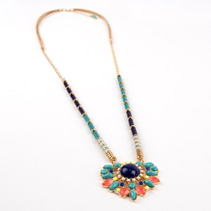 Stone & Resin Mix Pendant Cord Back Long Necklace