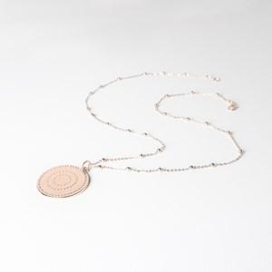 XOXO Disc Pendant Long Necklace