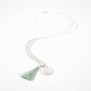 Coin & Tassel Pendant Stone Balls Long Necklace
