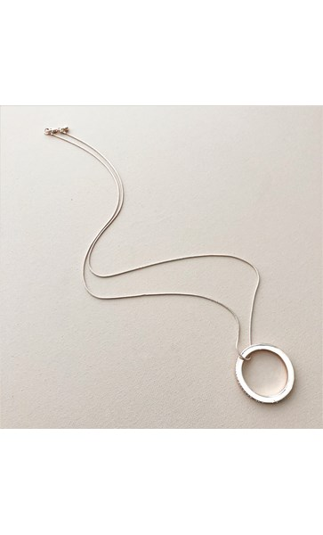 Diamante Edge Ring Pendant Long Necklace