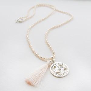 Eastern Cutout Pendant Crystal Strand Necklace