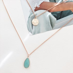 Stone & Coin Pendant Double Layer Necklace