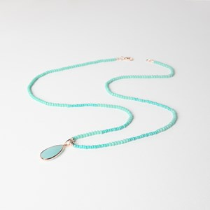 Crystal Beads Stone & Coin Pendant Long Necklace