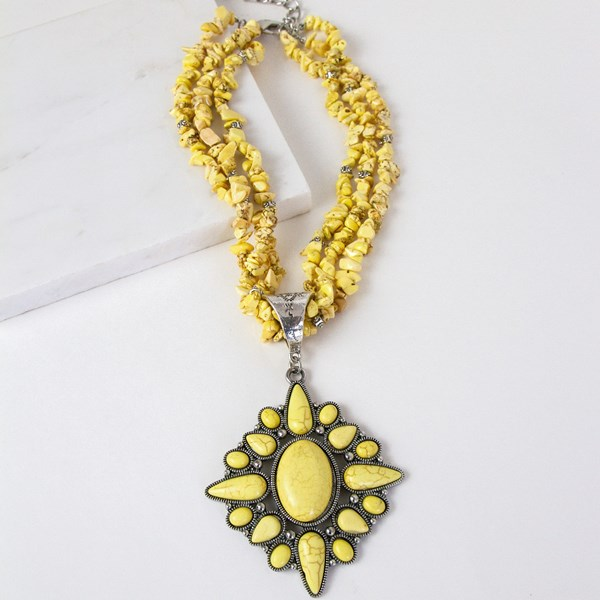 Hawaiian Stone Chips Stone Pendant Statement Necklace