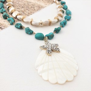 Stone & Pearl Mix Shell Pendant Statement Necklace