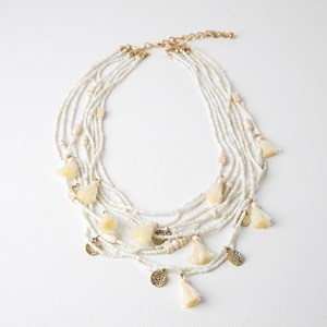 Layered Seed Bead Tassel & Disc Charms Necklace