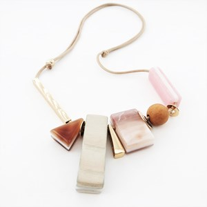 Resin & Timber Shape Mix Adjustable Cord Necklace