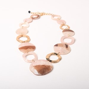 Resin & Metal Rings Mid Statement Necklace
