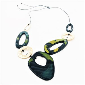 Linked Resin & Metal Shapes Adjustable Twine Necklace