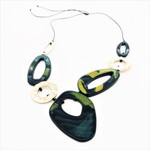 Linked Resin & Metal Shapes Adjustable Twine Necklace