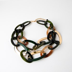 Linked Resin Chain Statement Necklace