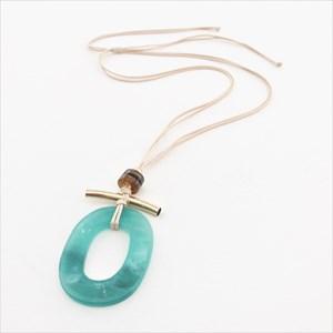 Resin Oval & Bar Pendant Adjustable Twine Necklace