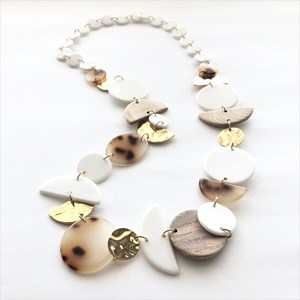 Resin & Metal Shapes Mix Long Necklace