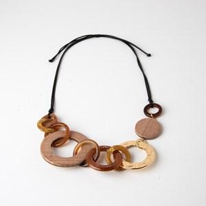 Timber & Metal Ring Mix Adjustable Short Necklace
