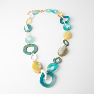 Linked Resin Ovals & Patina Rings Long Necklace