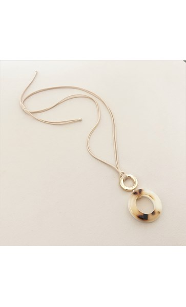 Resin & Metal Ring Pendant Adjustable Cord Necklace