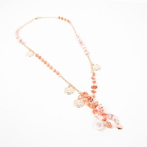 Coral Mix Clover Charms Long Pendant Necklace