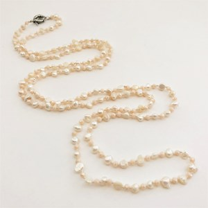 Freshwater Pearl and Crystal 120cm Strand Necklace