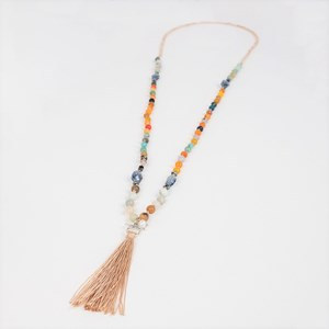 Mixed Glass Bead Long Necklace