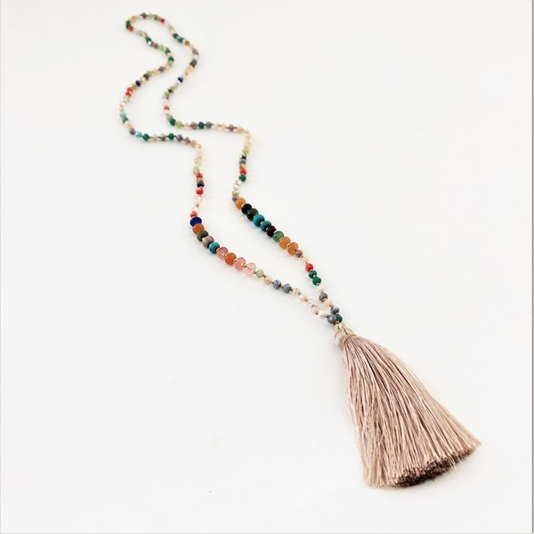 Long Glass Bead Tassel Necklace
