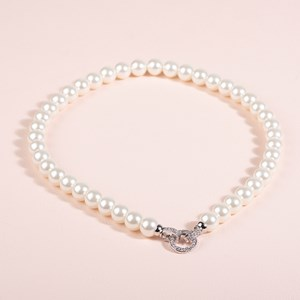 Diamante Clasp Glass Pearl Necklace