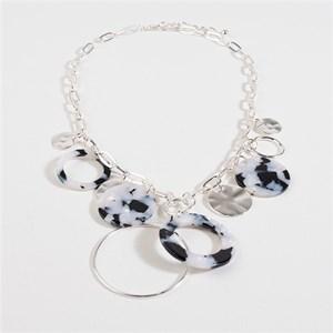 Resin Metal Rings Necklace
