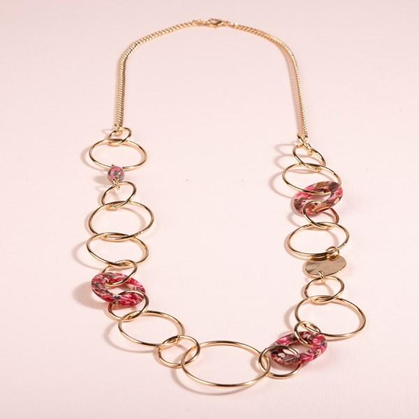 Resin Metal Long Ring Necklace