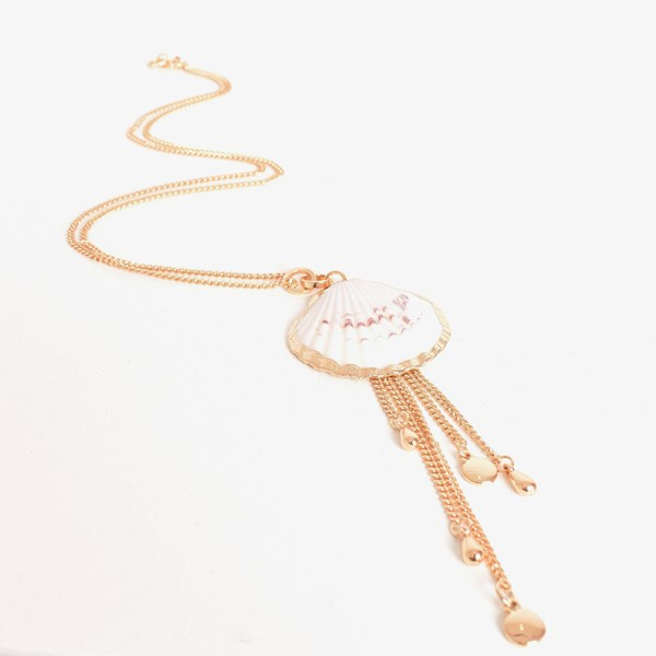 Edged Fan Shell Long Necklace