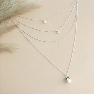 Layered Capped Pearl Long Necklace