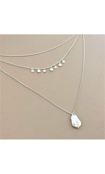 Layered Metal & Disc Pearl Necklace