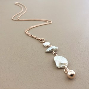 Long Baroque Pearl Drop Necklace