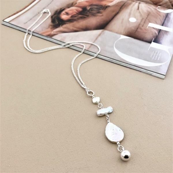 Long Baroque Pearl Drop Necklace