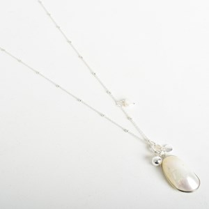 Metal Edged Shell Drop Necklace