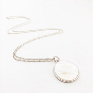 Mother of Pearl Disc Long Necklace