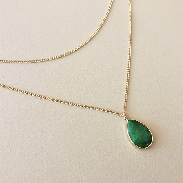 Teardrop Stone Drop Necklace