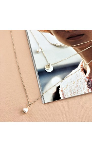 Fine Layers Natural Pearl Drop Necklace