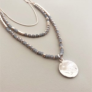 Layers Beaded Disc Pendant Necklace