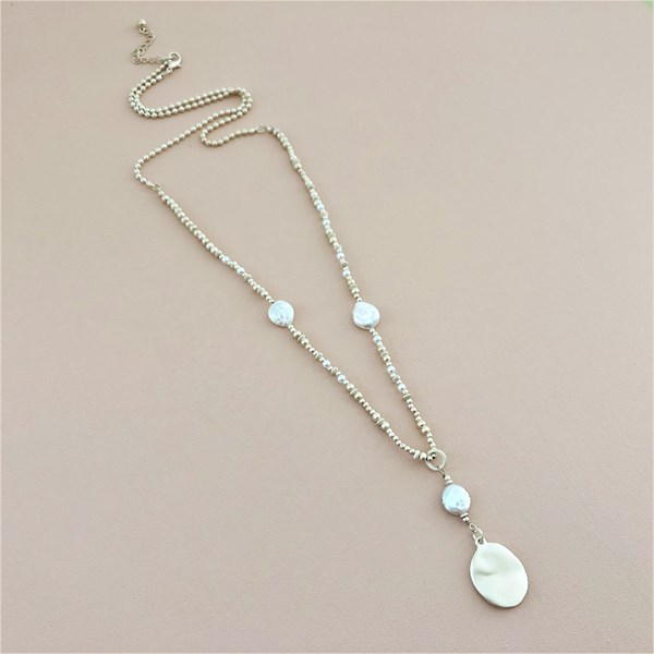 Natural Pearl Beaded Long Necklace