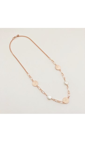 Pattern Disc Pearl Necklace