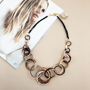 Leather Back Multi Resin Rings Necklace