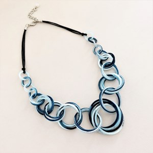 Leather Back Resin Rings Necklace