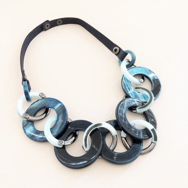 Metal Resin Vegan Leather Back Necklace